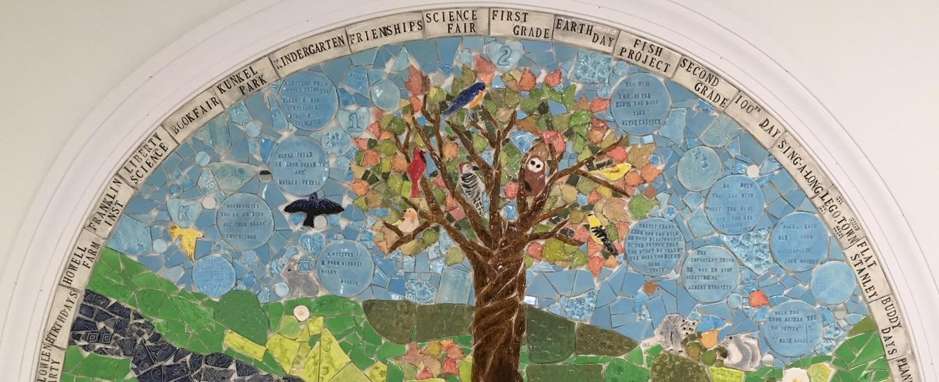 Toll Gate Grammar School mural of a tree