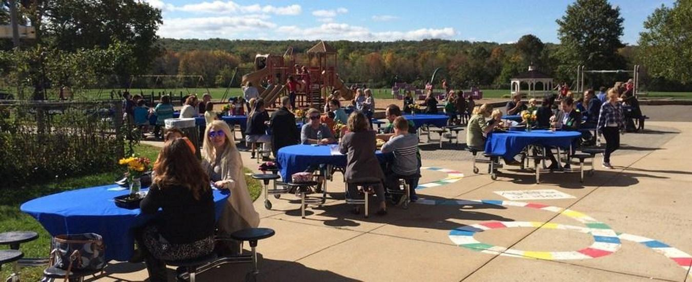 Outdoor lunch with parents and guardians