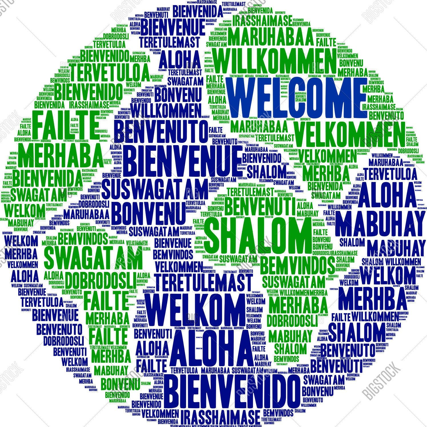 Welcome Globe in different languages