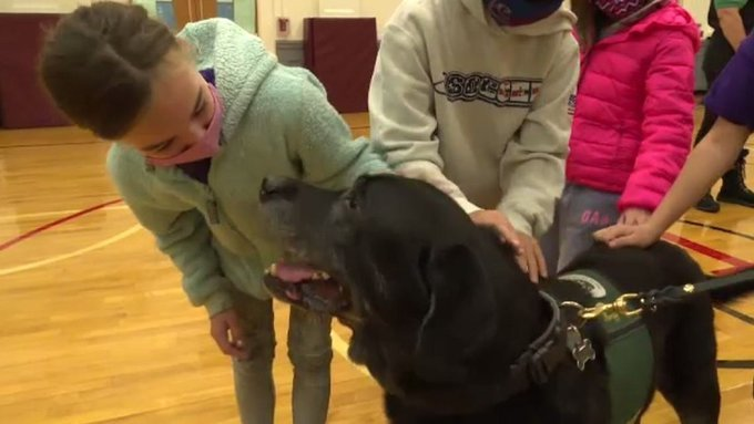 Hopewell Valley School District students petting a therapy dog